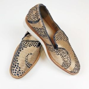 FREE PEOPLE Metallic Gold Snake Loafers Size 39